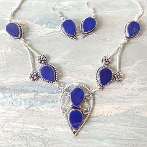 Lapis lazuli stamped 925 set